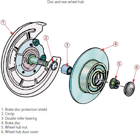 Disc and rear wheel hub